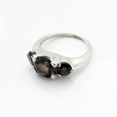 Indian silver ring and smokey topazes S6