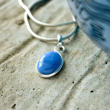 Silver and blue opal stone Indian pendant