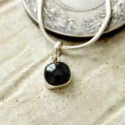 Silver and black onyx stone Indian pendant