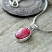Silver and red coundum stone Indian pendant