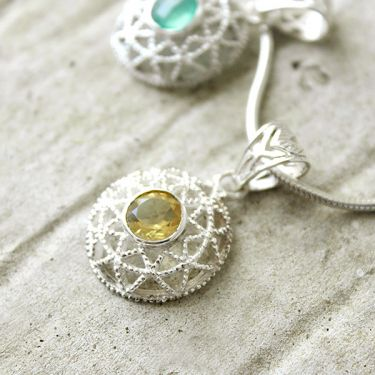 Silver and citrine stone Indian pendant