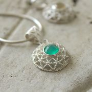 Silver and green onyx stone Indian pendant