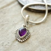 Silver and amethyst stone Indian pendant