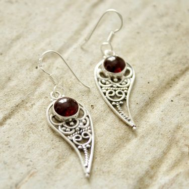 Silver and garnet stone Indian earrings