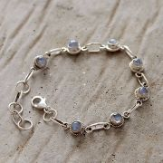 Silver and moonstones Indian bracelet