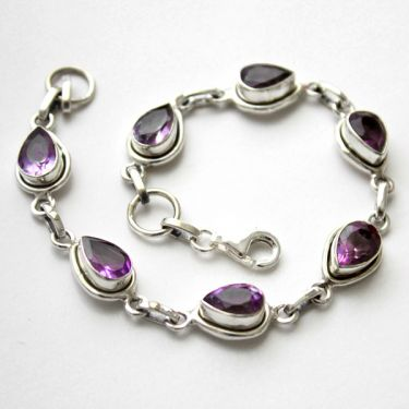 Indian bracelet silver and amethysts