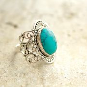 Silver and turquoise stone Indian ring S8