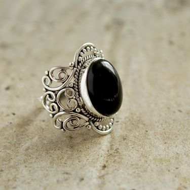 Silver and black onyx stone Indian ring