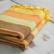 Indian sofa or bed cover yellow and brown
