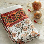 Indian printed cotton table cover orange
