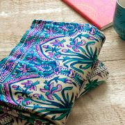 Indian printed table cover pink and green