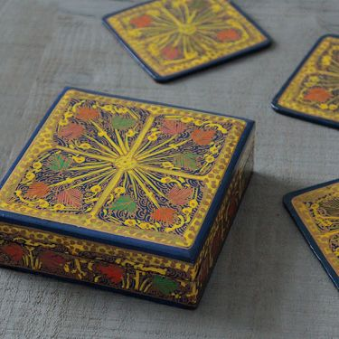 Coasters Indian paper mache square blue x6