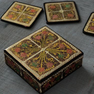 Coasters Indian paper mache square black x6