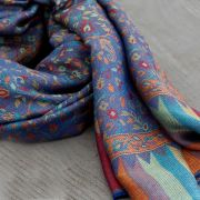 Indian 2 sides cotton scarf blue and light brown