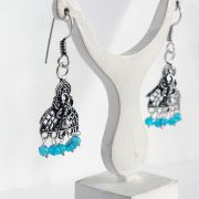 Indian earrings blue pearls