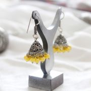 Jhumka Indian earrings small yellow