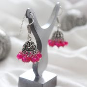 Jhumka Indian earrings small pink