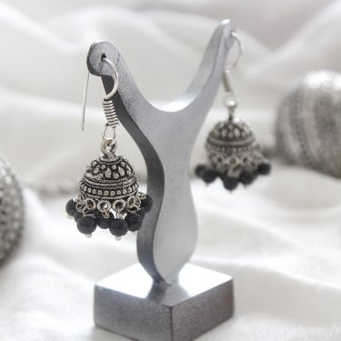 Indian earrings Jhumka small black