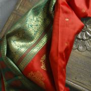 Sari indien complet art silk orange et vert