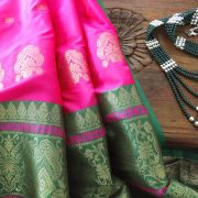 Indian saree art silk pink and green