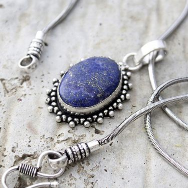 Fancy Indian necklace metal and dark blue stone