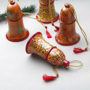 Indian bell Pendant paper mache red