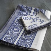 Indian tablecloth with napkins blue and white