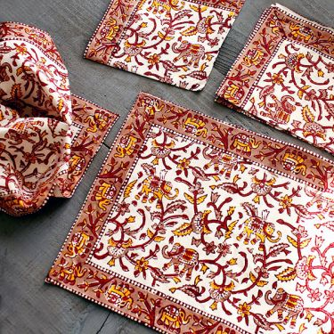 Indian placemats and napkins x6