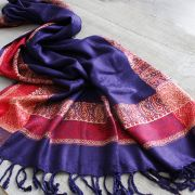 Indian cotton paisley shawl violet and red