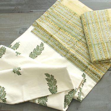 Indian printed bed sheet handicraft flowers