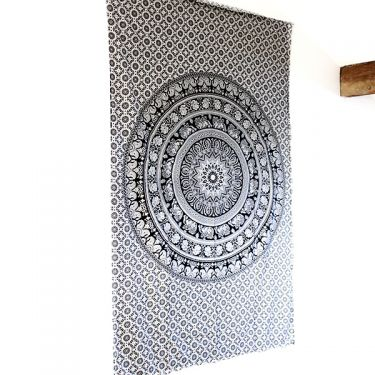 Indian cotton wall hanging Mandala B&W elephants