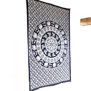 Indian cotton wall hanging Mandala B&W peacocks