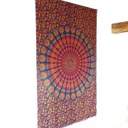 Indian cotton wall hanging Mandala orange and blue