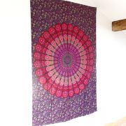 Indian cotton wall hanging Mandala pink and purple