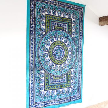 Indian cotton wall hanging Mandala green