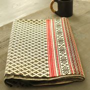 Indian printed table cover tribal black and red