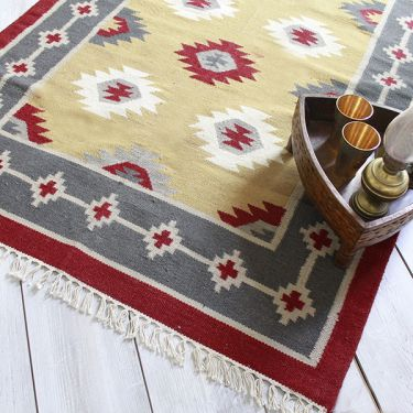 Indian carpet jute and wool beige Dari