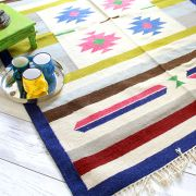 Indian carpet jute and wool blue and pink Dari