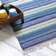 Indian carpet wool and jute blue Dari