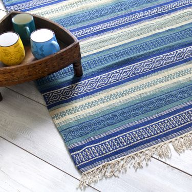 Indian carpet coton and jute blue Dari