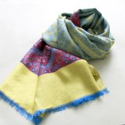 Indian scarf colorful and soft blue and yellow