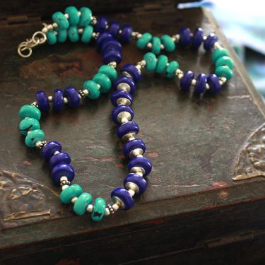 Fancy Indian necklace mala green and purple