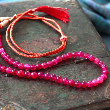 Collier réglable indien perles rouges