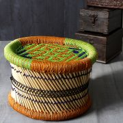 Indian bamboo stool Muddi orange and green