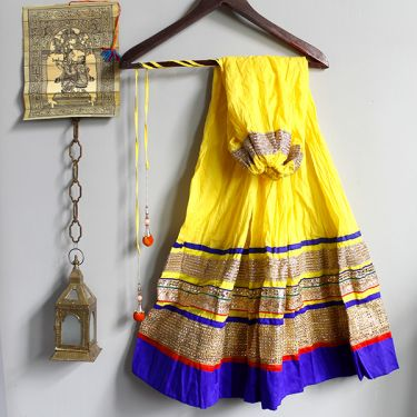 Indian skirt Benjara yellow and blue